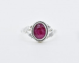 RUBY RING 925 STERLING SILVER NATURAL GEMSTONE JR500
