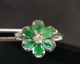 1.92ct Diamond Ring Set With Zambian Emeralds , 10KT Solid White Gold.