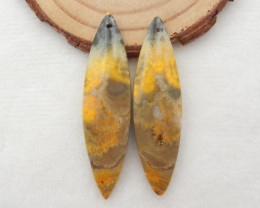 43.5Cts New !! Honey Jade Earrings ,Oval Gemstone Earrings ,Handmade Gemsto