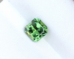 1.30 Ct Natural Green Transparent Asscher Cut Tourmaline Gemstone
