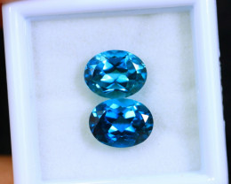 4.84cts Natural LONDON-BLUE TOP Topaz Pair / MA419