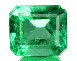 Natural Vivid Green Emerald Octagon Cut Colombia 0.52 Cts