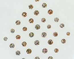 ~UNTREATED~ 1.00 Cts Natural Peach Diamond Round 2mm Cut 33Pcs Africa