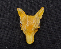 22.5cts Tiny Hand Carved Wolf Pendant ,Smoky Quartz Wolf ,Wolf Head Pendant