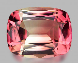 Gorgeous custom cushion cut Namibian bi-colour tourmaline.