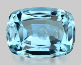 High gem quality, exquisite custom precision cut Santa-Maria aquamarine.