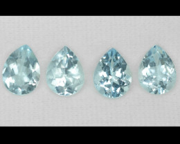5.72 cts 4 PCS Un Heated  Sky Blue Color Natural Aquamarine Loose Gemstone