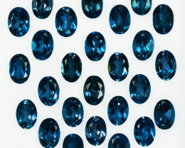 25.20Cts Natural London Blue Topaz 7 X 5mm Oval Calibrated Parcel
