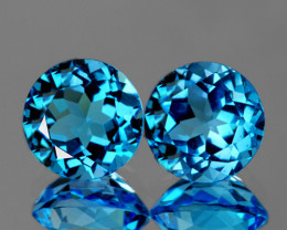 6.00 mm Round 2 pcs 1.87cts Swiss Blue Topaz [VVS]