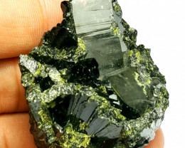 Amazing Natural color Epidote cluster combine with Lovely Quartz 275Cts-P