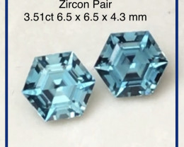 Pretty Pair of Hexagonal Cut Blue Zircon - Cambodia