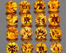 2.00 mm Round 20 pcs 1.00ct Yellow Sapphire [VVS]