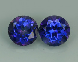 3.05~CTS WONDERFUL TANZANITE COLOR COTED TOPAZ ROUND~EXCELLENT NR!!