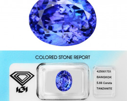 5.66 Cts IGI Certified Bluish Violet Color Natural Tanzanite Gemstone