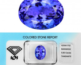 5.82 Cts IGI Certified Bluish Violet Color Natural Tanzanite Gemstone