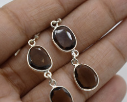 SMOKY QUARTZ EARRINGS 925 STERLING SILVER NATURAL GEMSTONE JE34