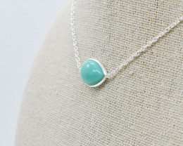 AMAZONITE NECKLACE NATURAL GEM 925 STERLING SILVER JN65