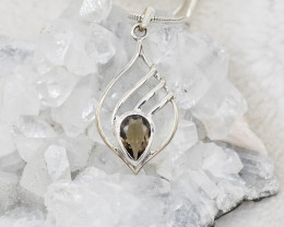 SMOKY QUARTZ PENDANT 925 STERLING SILVER NATURAL GEMSTONE JP117