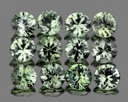 2.50 mm Round 12 pcs LIght Green Sapphire [VVS}