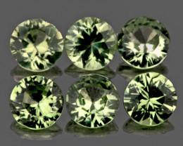 3.30 mm Round 6 pcs 1.18cts Yellowish Green Sapphire [VVS]