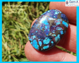 26mm Mojave Turquoise cabochon oval 26 by 18 by 5mm 25ct