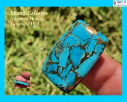 28mm Mojave Turquoise cabochon cushion 28 by 18 by 5mm 23ct