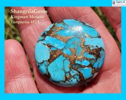 29mm Mojave Turquoise cabochon round 29mm by 4mm 33ct