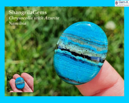 24mm Azurite Chrysocolla cabochon round turquoise and blue 24 by 19 by 5mm