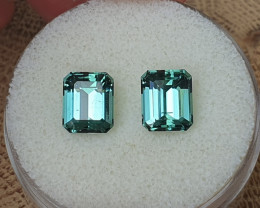 4,94ct greenish blue Tourmaline pair - Master cut & rare colour!