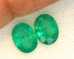 2.23CTS CERTIFIED BRAZILIAN EMERALD FACETED PAIRS 2PC TBM-1119
