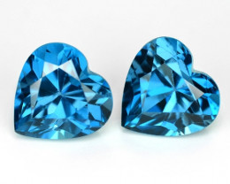 3.18 Carats 2pcs  Pair 7.10x4.55 mm London Blue Natural Topaz Gemstone