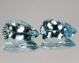 ~BEAUTIFUL~ 15.85 Cts Natural Blue Aquamarine Pear Pairl Cut Brazil