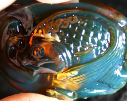 Excellent 2.3inch Japanese Koi Fish Natural Crystal Clear Deep Blue Amber F
