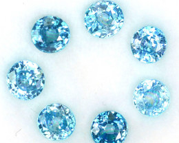 5.60 Cts Natural Sparkling Blue Zircon 5mm Round Cut 7Pcs Cambodia