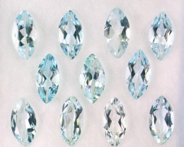 4.52 Cts Natural Light Blue Aquamarine 8x4mm Marquise Cut 11Pcs Parcel Braz