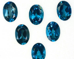 5.76 Cts Natural London Blue Topaz 7x5mm Oval Cut 6Pcs Brazil