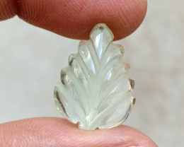 11Ct AQUAMARINE CARVED LEAF Natural+Untreated VA2547