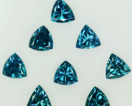 Fabulous!!!  0.75 Cts Natural Diamond Greenish Blue 8Pcs Trillion Africa