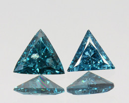 Glittering!!!  0.17 Cts Natural Diamond Greenish Blue 3mm Fancy Trillion Af