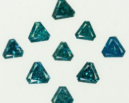 0.56 Cts Natural Diamond Greenish Blue 9Pcs Trillion Africa