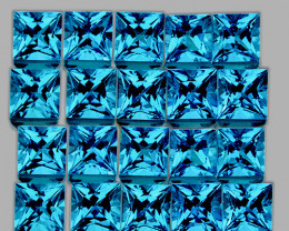 2.30 mm Square Princess 35pcs 2.90cts Swiss Blue Topaz [VVS}