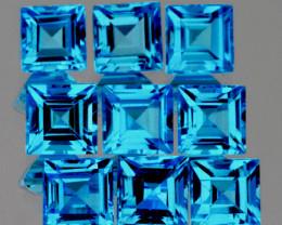 4.10 mm Square 9 pcs 3.91cts Swiss Blue Topaz [VVS}