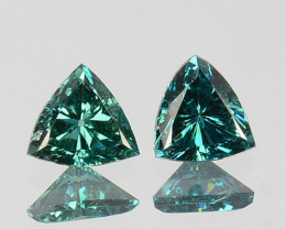 0.19 Cts Natural Diamond Greenish Blue 2Pcs Trillion 3mm Africa