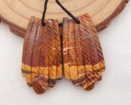 31cts Carved Leaf Earrings,Multi Color Jasper Handcarved Feather Earrings H