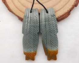 41.5cts Carved Leaf Earrings,Wave Jasper Handcarved Feather Earrings H085