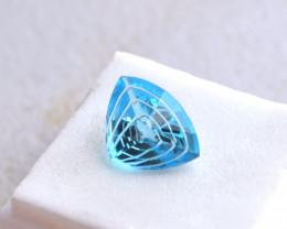 6.28 Carat Fancy Trillion Laser Cut Electric Blue Topaz