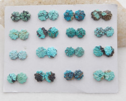 16Pair Turquoise Flower Cabochons Pairs,60ct  H083