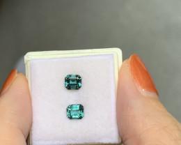 1.08 top blue rectangular cut tourmaline pair