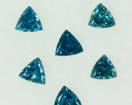 Fabulous!!!  0.21 Cts Natural Diamond Greenish Blue 4Pcs Trillion Africa