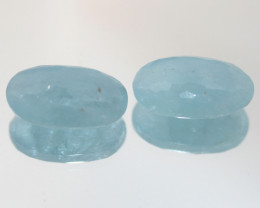 26.35 Ct Aquamarine Pair Faceted Oval Cushion Briolette 19.7x11.8mm.-(SKU50